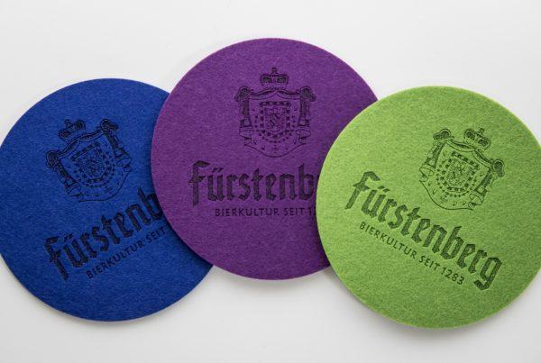 Fürstenberg Filz Untersetzer Felt Coaster Beer Bier Eco friendly promotion give away merchandise gift logo laser engraving